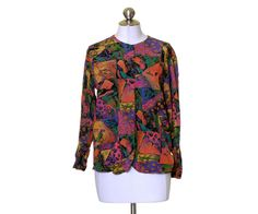 The Limited Bright Multi-color Artsy Print Button Rayon Shirt Size XS #TheLimited #ButtonDownShirt #Casual