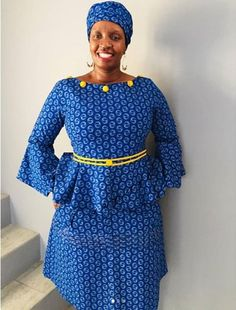 Shweshwe high waisted skirt in South Africa 2019 - Our Nail Shweshwe Dresses, Indigo Prints, African Print Fashion, African Prints, Luxury Dress, Traditional Dresses, Casual Dresses For Women, High Waisted Skirt, Cotton Fabric