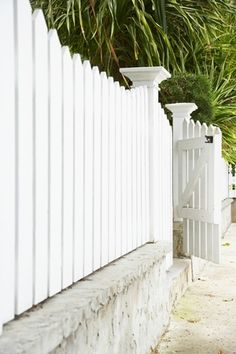 White Wood and Concrete Privacy Fence