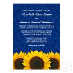 Sunflower invitations - yellow and royal cobalt blue