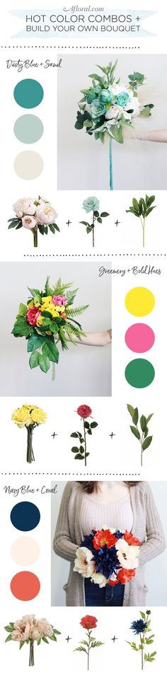Build your own bouquets with Afloral.com premium silk flowers in bright and bold hues.