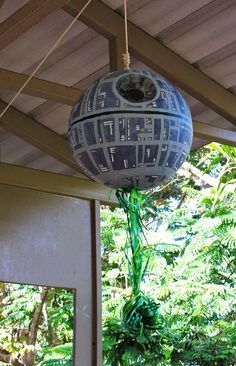 Amat's Star Wars 7th Bday (Star Wars Episode VII: Rise of the New Jedis) jedi Training Academy DEATH STAR PIÑATA