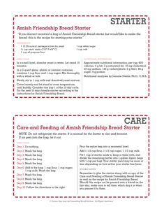 Amish Friendship Bread Starter Recipe Best Of Printable Amish Friendship Bread Instructions Friendship Cake, Friendship Bread Recipe, Amish Bread Recipes, Bread Machine Recipes, Dutch Recipes, Sourdough Recipes, Pan Amish, Cinnamon Bread, Cinnamon Rolls