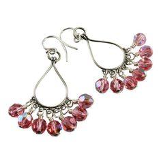 Pink Crystal Sterling Silver Chandelier Earrings