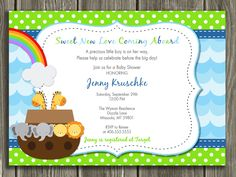 Noah's Ark Baby Shower Invitation - FREE thank you card included. $13.00, via Etsy.