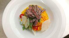 saffran risotto with beef tagliatelle