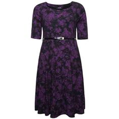 PRE-ORDER - Black & Purple Rose Print Skater Midi Dress With Patent Belt $79.00 http://www.curvyclothing.com.au/index.php?route=product/product&path=95_105&product_id=8458