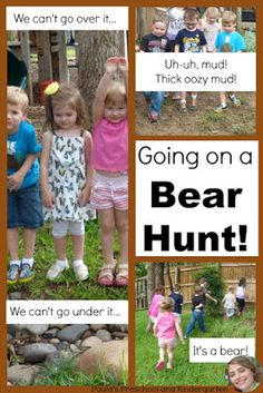 """Check out this fun activity for """"Going on a Bear Hunt"""", perfect for preschool and kindergarten kiddos. Bears Preschool, Kindergarten Classroom, Classroom Themes, Primary Classroom, Bear Hunt Song, Bear Songs, Outdoor Learning, Outdoor Play, Kindergarten Books"""