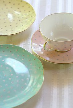 Wedgwood Harlequin Polka Dot Tea Plates in pastels