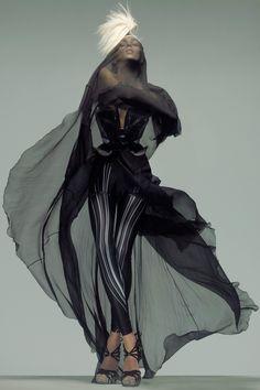 """Black and White"" | Model: Anja Rubik, Photographer: Nick Knight, Vogue UK, March 2009"