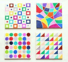 MAKE SHARPIE TILE ART (via http://www.pippapatchwork.com/diy-sharpie-tiles/)