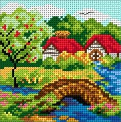 Summer scheme - Bridge on the river - Bow - online store - cross stitch, crochet . Cross Stitch House, Cross Stitch Tree, Beaded Cross Stitch, Cross Stitch Kits, Cross Stitch Designs, Cross Stitch Embroidery, Embroidery Patterns, Cross Stitch Patterns, Crochet Cross