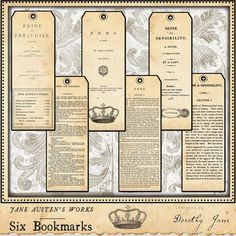 jane austen title page bookmarks