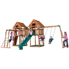 Kings Peak in Utah pushes over 13,500 feet into the clear western sky. The Kings Peak swingset pushes into your backyard with twin peaks and a sun bridge. One fort has the heavy-duty swing beam attach