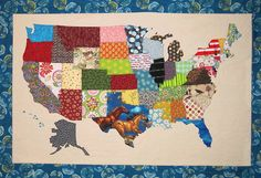 Quilt Pattern Patchwork USA map