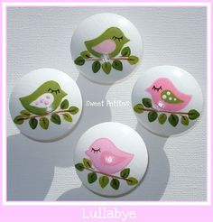 Hand Painted Knob - Dresser Drawer - Lullabye Birdies - Pink - Green - Drawer Pulls