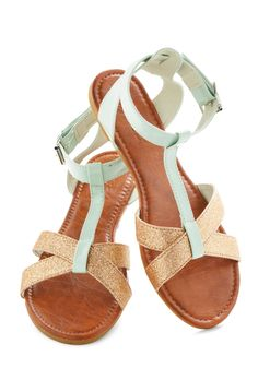 Glint of Mint Sandal - Gold, Glitter, Fairytale, Summer, Flat, Faux Leather, Mint, Casual, Daytime Party