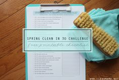 Clean your home this Spring in 30 days! Break it down in to manageable tasks with this FREE printable.