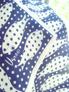 Polka Dot Fish a vintage 1980's Vera Neumann Silk by theluckyfish