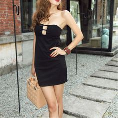 New Arrival Black Hot Cut-outs Strapless Club-Wendybox.com