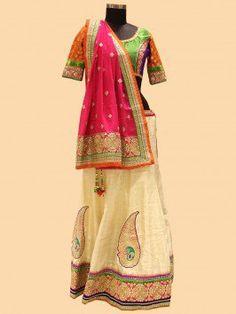 Cream And Pink Lehenga Choli With Patch Work www.saree.com