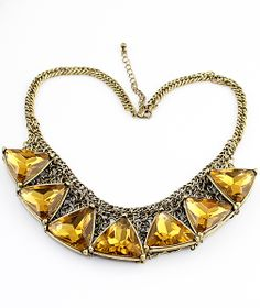 Big Imitation Glass Rhinestone Collar Necklace - Sheinside.com