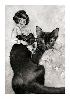 Beatrice. Print of young Victorian girl saddling a black cat with an English saddle.