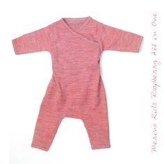 Merino Kids Raspberry All in One All Kids, Merino Wool, All In One, Organic Cotton, Raspberry, Rompers, Range, Classic, Fashion