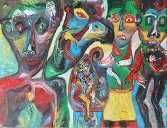 Eine Malerei des italienischen Art-Brut-Malers Ugo Mainetti, *1945, der ursprünglich Metzger war. Cobra Art, Metzger, Art Brut, Naive, Primitive, Painting, Artists, Italy, Painting Art