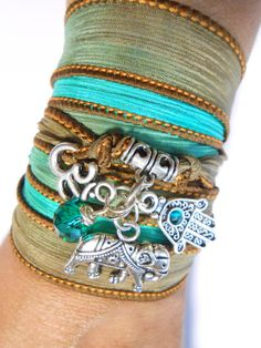 Elephant Om Silk Wrap Bracelet Yoga Jewelry Bohemian Bracelet Hamsa,Elephant,Namaste Jewelry Dyed Silk Ribbon Spiritual Jewelry Unique Gift on Etsy, $32.16 CAD