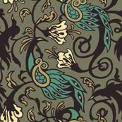 Bird Nouveau I - cryptovolans - Spoonflower
