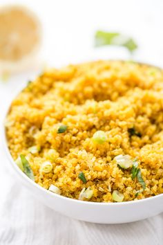 Lemon Turmeric Quinoa made with just 5 INGREDIENTS! So simple and the perfect way to spice up your next Indian or Middle Eastern feast!