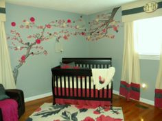 Baby Room Ideas and Children's Party Themes - Project Nursery Baby Nursery Decor, Project Nursery, Baby Decor, Kids Decor, Nursery Ideas, Cherry Blossom Nursery, Cherry Blossom Painting, Black Crib, Painted Branches
