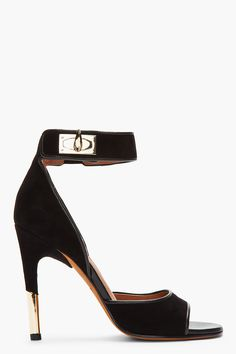 GIVENCHY Black Suede & Gold Sharktooth Heels