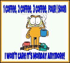 Garfield meme Monday coffee quote.