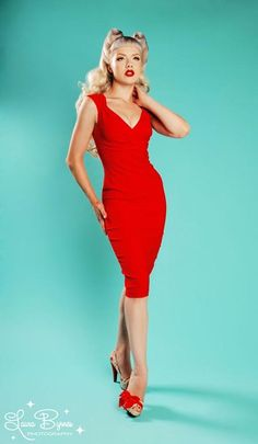 Pin up clothing  Erin Wiggle Dress in Red Stretch Bengaline from Pinup Couture