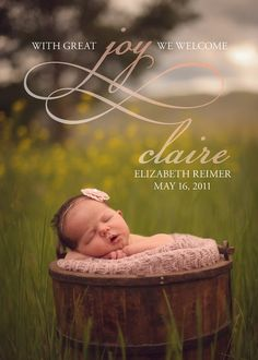 Baby Announcement Photo Card Print Yourself by heidiandgray Newborn Pictures, Baby Pictures, Baby Photos, Newborn Pics, Baby Girl Photography, Children Photography, Photography Ideas, Baby Announcement Photos, Cute Baby Names