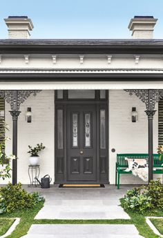 First impressions count so what better way to make a bold statement than with a grand entrance to your home. Adding a dash of colour to your front door and porch accessories is […] House Paint Exterior, Exterior House Colors, Exterior Design, Wall Exterior, Exterior Color Schemes, House Color Schemes, Patio Interior, Interior And Exterior, Garage Door Design