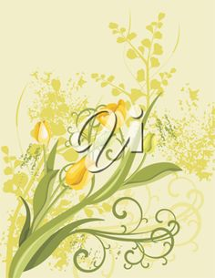 iCLIPART - Spring Themed Floral Background Illustration