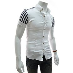 (CES24-WHITE) Slim Fit Pin Stripe Patched Short Sleeve Shirts