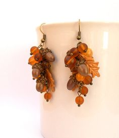 Fall earrings  Acorn earrings  Fall leaves  agate by insoujewelry, $24.00