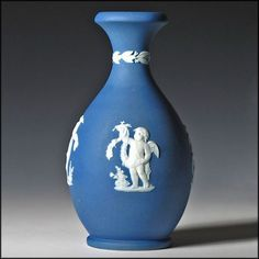 Wedgwood Cobalt Blue Dip Jasper Ware Bottle Vase - 19th C  Antique - Bud Vase - Jasperware