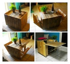 Coffee table made with upcycled pallet wood. I simply cut planks from pallets (without boning them). From all these boards (about 45 cms long), I could made this original and modular coffee table.   Table basse réalisée avec du bois de palettes. J'ai simplement découpé des planches à partir de... #CoffeeTable, #Design, #Glass, #Modulable, #PalletTable, #ReclaimedPallet, #Wine