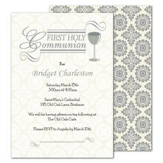 Party Invitations : Free Printable First Holy Communion Invitations with Damask Pattern Hard Cover featuring Gray and White Themed Card complete with Address Template - Holy Communion Invitations Card