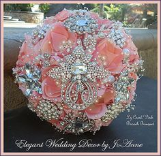 CORAL PINK Brooch Bouquet, DEPOSIT for a Custom Designed brooch Bouquet, Keepsake Bridal bouquet, large bridal bouquet, brooch bouquet Crystal Bouquet, Wedding Brooch Bouquets, Bride Bouquets, Bridesmaid Bouquets, Flower Bouquets, Purple Wedding Bouquets, Prom Flowers, Wedding Flowers, Bling Wedding