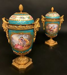 Lot: Very Fine Pair of 19th C. Turquoise Blue Sevres Urns, Lot Number: 0111A, Starting Bid: $500, Auctioneer: Royal Antiques, Auction: Fine Furniture and Decorative Art, Date: March 19th, 2017 EET