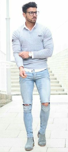 a76d316f46 10 Coolest Ripped Jeans Outfit Ideas For Men