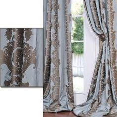 Medium Teal Blue With Cocoa Brown Print Faux Silk 120-inch Curtain Panel  Write a review  Today $99.65  Was $131.99  Save $32.34 (25%)  Item #: 13433031        Defined by a unique sheen and fine weave, this exclusive patterned faux silk taffeta curtain panel is gorgeous and timeless. This window panel has a crisp, smooth finish in color-coordinated patterns. ...more
