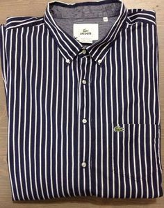 4d6f9d28f Lacoste Dress Shirt 4XLT Mens 100% Cotton Buttoned Collar Stripe Blue