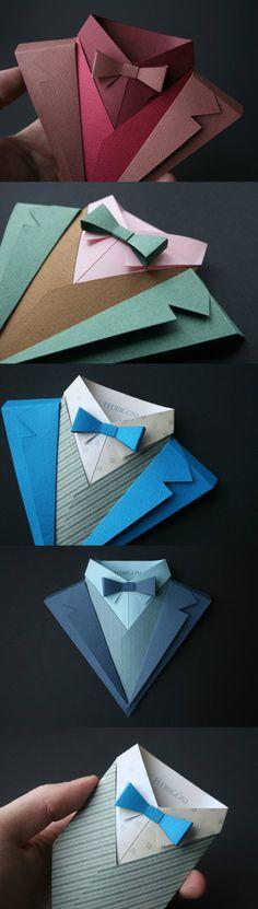 O jornal italiano Fedrigoni empresa lançou recentemente um folheto de origami para ensinar aos usuários como papel colorido para dobrar roupas de homens, de acordo com o modelo sobre o livro.